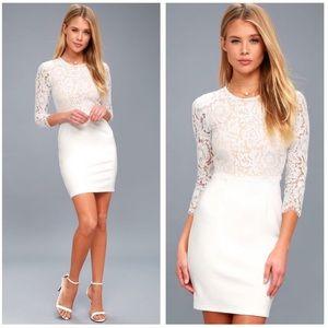 Lulu's Lace Bodycon White Dress